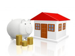 Savings Piggy Bank Gold Coins and House